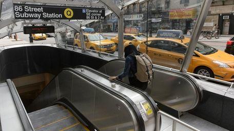 Escalators along the Second Avenue Subway line as