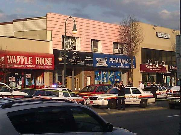Nassau County police respond to the scene of