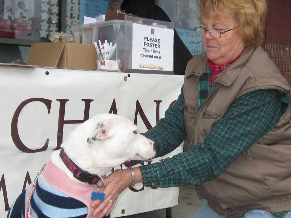 Last Chance Animal Rescue Volunteer Cathy Wolcott spends