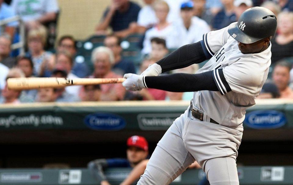 Yankees' Didi Gregorius doubles off Minnesota Twins pitcher