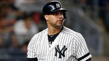 Gary Sanchez of the Yankees strikes out during
