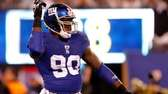 Jason Pierre-Paul of the New York Giants reacts