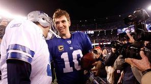 Tony Romo of the Dallas Cowboys and Eli