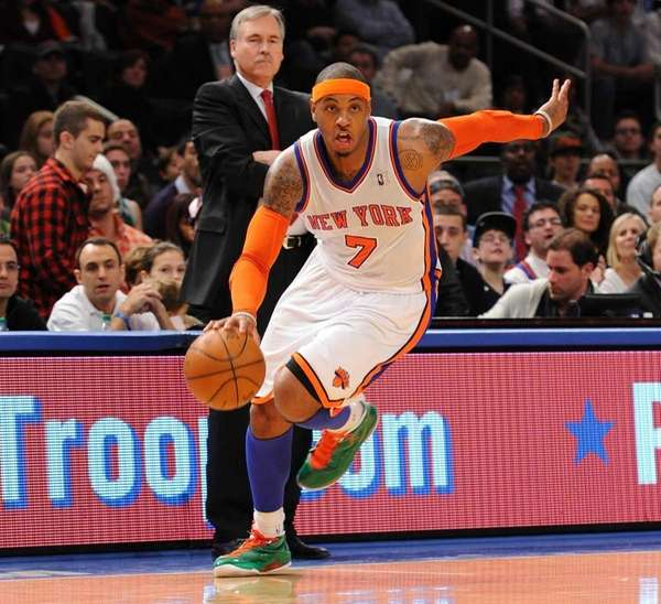 The New York Knicks' Carmelo Anthony appears during