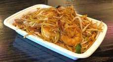 Hakka lo mein with shrimp is served at
