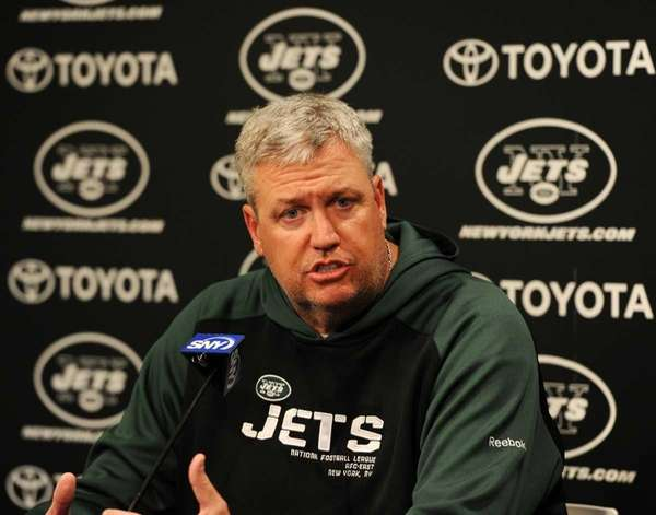 New York Jets head coach Rex Ryan answering