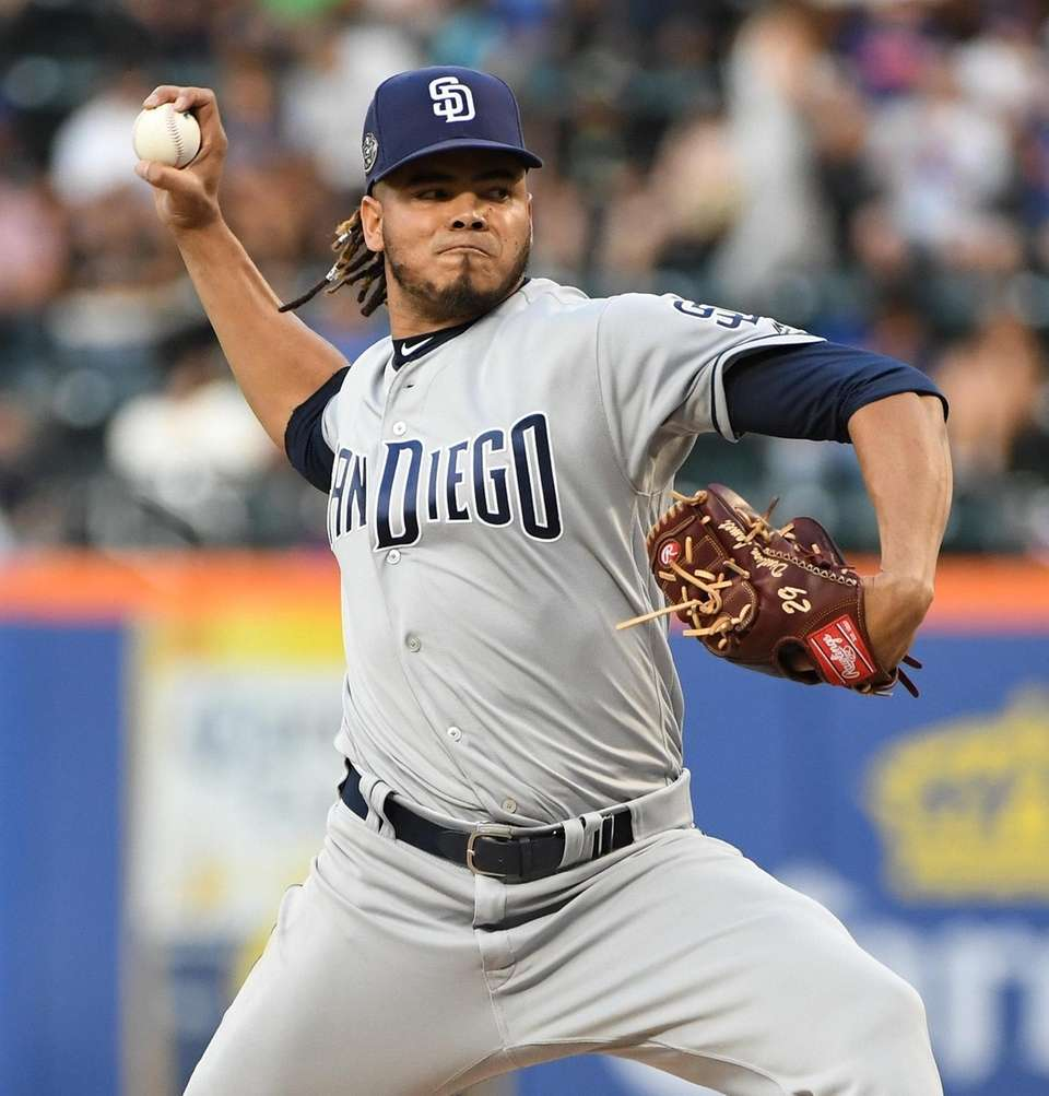San Diego Padres starting pitcher Dinelson Lamet delivers
