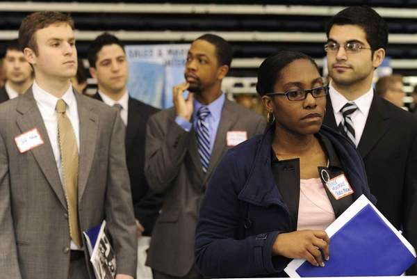 Students at Hofstra's annual job/internship fair. Second from