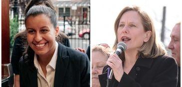 Public defender Tiffany Cabán, left, and Queens Borough