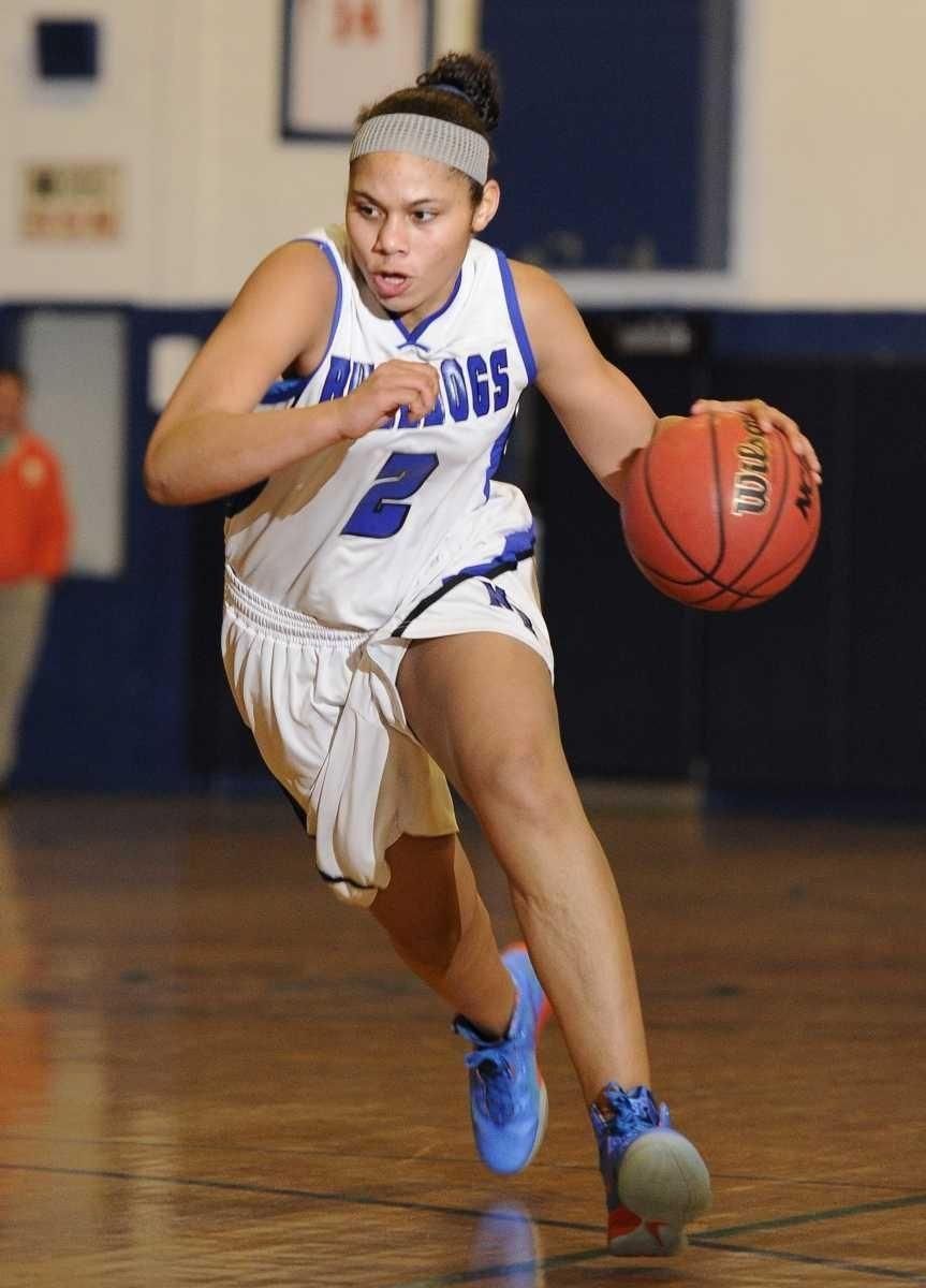 North Babylon guard Brianna Jones drives the ball