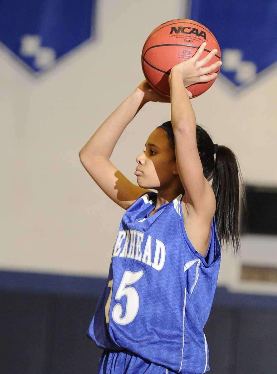 Riverhead guard Jalyn Brown looks to shoot against