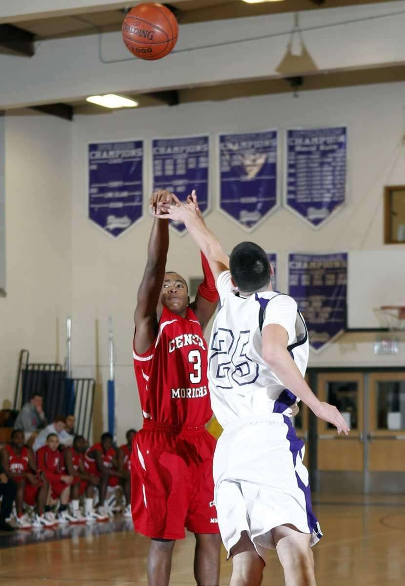Center Moriches' Tyrell Thomas (3) with one of