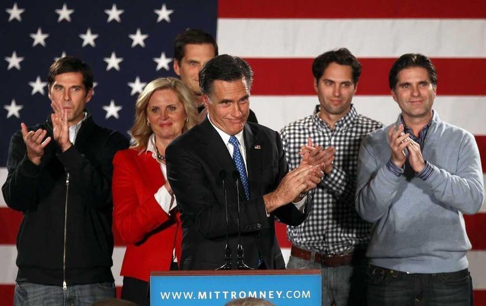 Republican presidential candidate Mitt Romney speaks as his