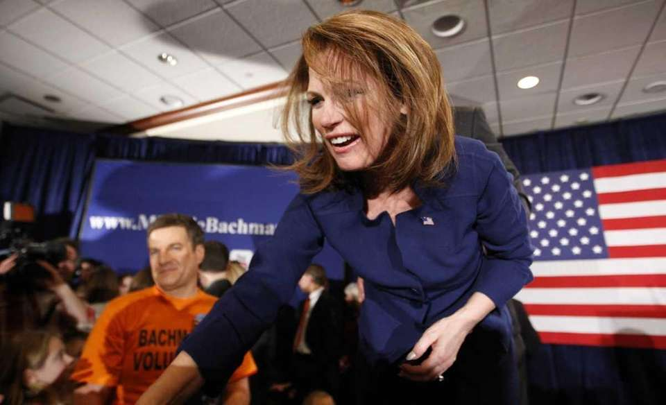 Michele Bachmann greets her supporters after speaking at