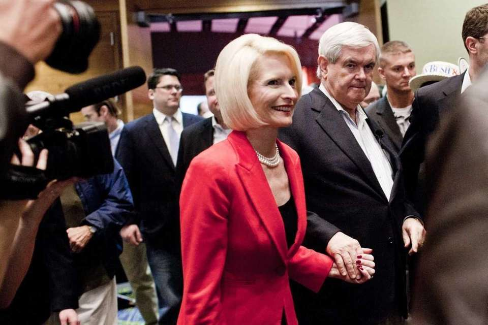 Republican presidential candidate Newt Gingrich and his wife,