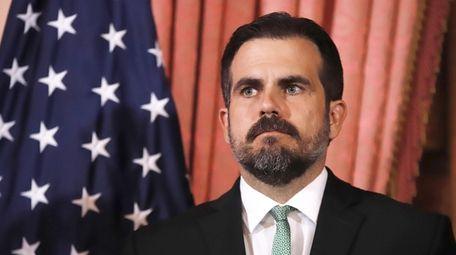 Puerto Rico Governor Ricardo Rossello addresses the media