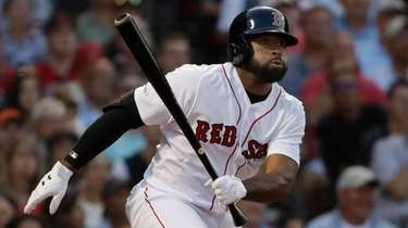 The Red Sox's Jackie Bradley Jr. hits a