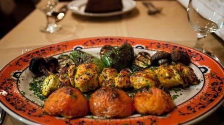 Jujeh kebab, Cornish hen with a lemon-saffron marinade,