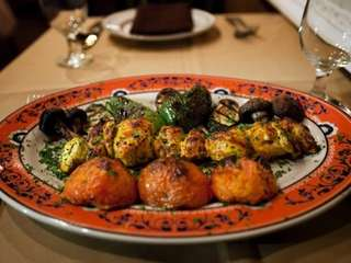 Jujeh kebab, Cornish hen with a lemon-saffron marinade,