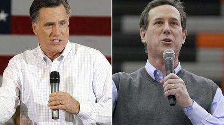 Mitt Romney and Rick Santorum campaigning in Iowa.
