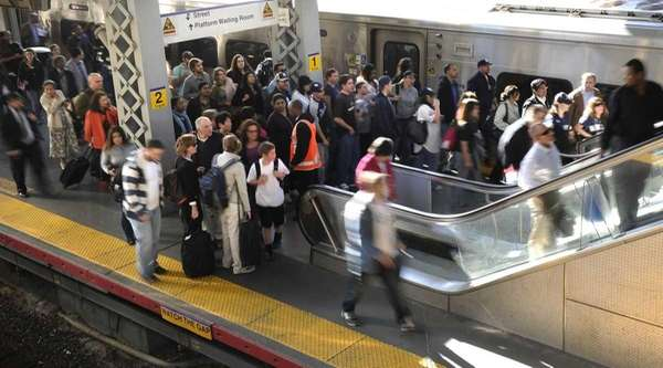 Long Island Rail Road commuters rushing to catch
