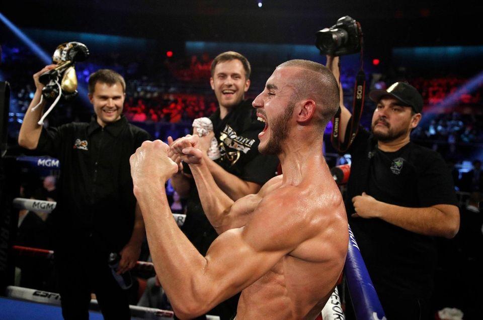 Russian boxer Maxim Dadashev seen celebrating on Oct.