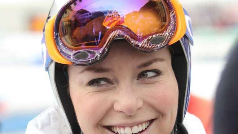 Lindsey Vonn smiles after taking part in the