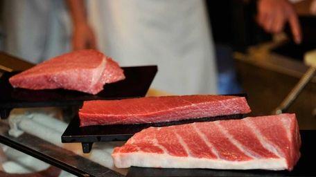Sushi restaurant chain Sushi-Zanmai displays blocks of fat