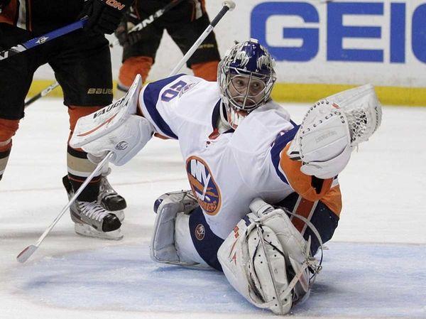 New York Islanders goalie Evgeni Nabokov, of Kazakhstan,