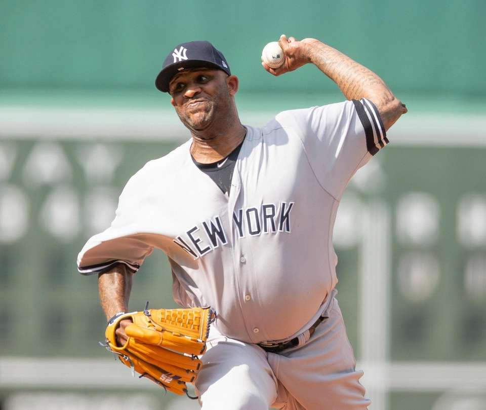 Yankees starting pitcher CC Sabathia pitches during the