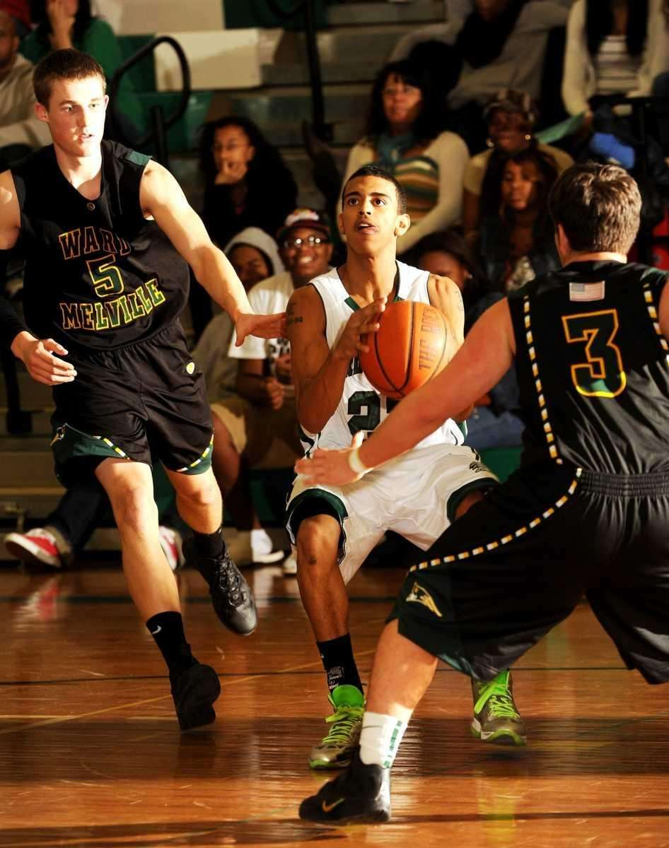 Brentwood's #23 Lawrence Hall attempts to get off