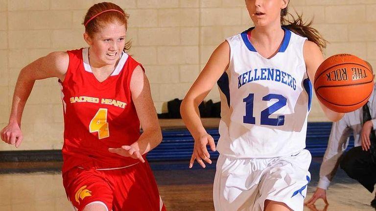 Kellenberg High School #12 Caitlin McGuinness, right, looks