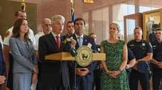 Suffolk County Executive Steve Bellone speaks Sunday in