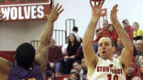 Stony Brook's Bryan Dougher (10) hits a three