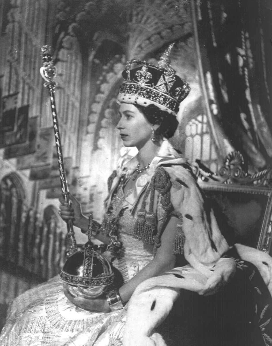 Queen Elizabeth II, wearing the Great Crown of