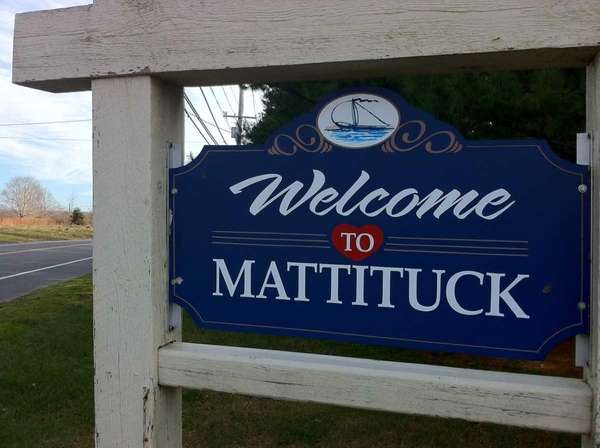 "A ""Welcome to Mattituck"" sign lets visitors know"