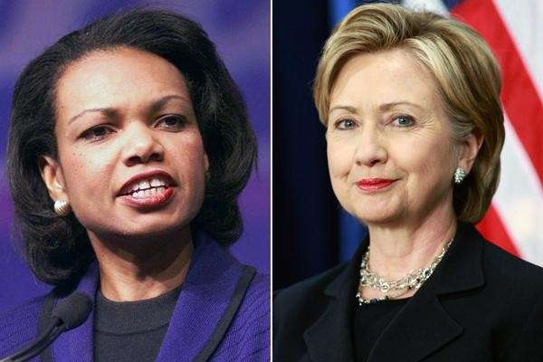 Condoleezza Rice and Hillary Clinton.