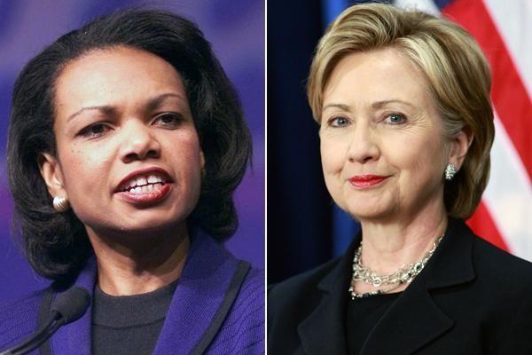 Condoleezza Rice and Hillary Clinton.