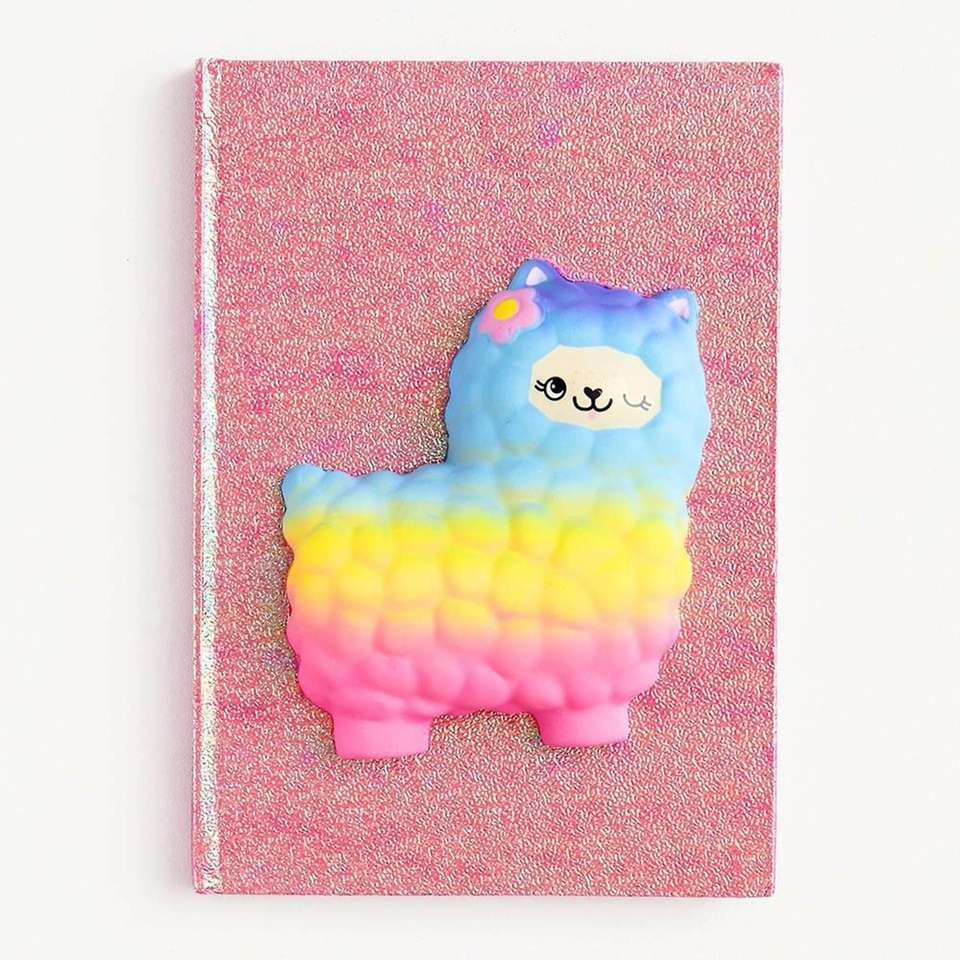 This bright pink glitter journal features 80 lined