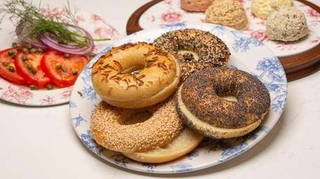 Some of the bagels and spreads at IT