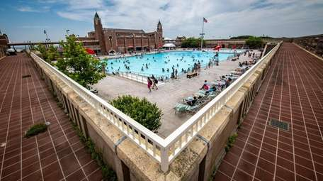 The promenade overlooks the West Bathhouse Pool at