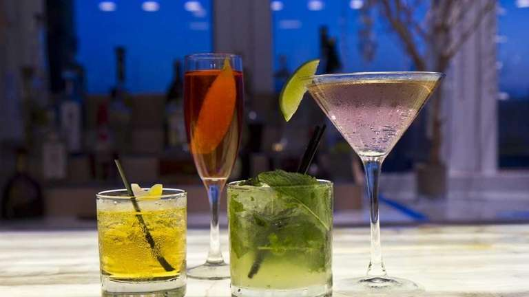 A file photo of drinks on a bar.