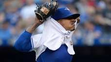 Blue Jays starting pitcher Marcus Stroman takes off