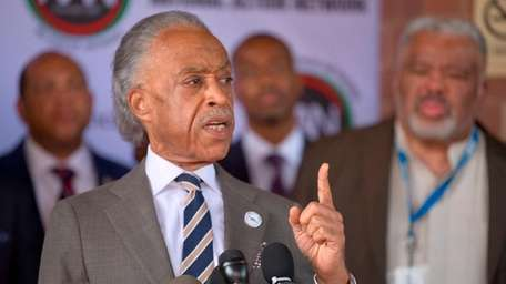 In Baltimore Monday, the Rev. Al Sharpton discusses