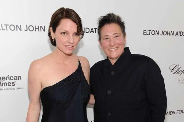 Jamie Price and singer k.d. lang arrive at