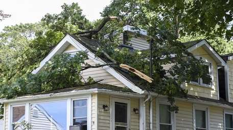 Tree branches fell on a home on Cherry