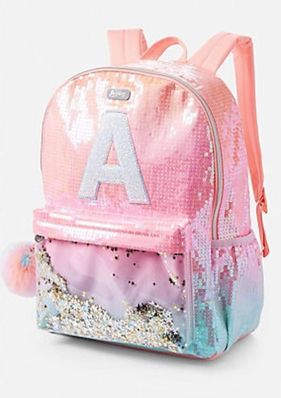 This backpack combines ombre color, sequins and glitter