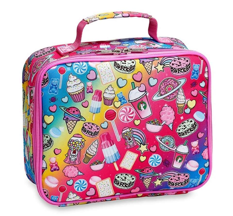 This eye-catching lunchbox is covered in pictures of