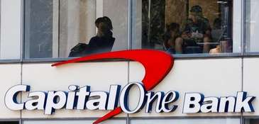 A view of a Capital One Bank in