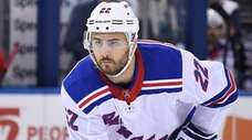 Rangers defenseman Kevin Shattenkirk sets before a face-off